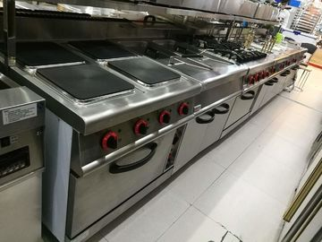 Western Kitchen Equipment Commercial Gas Stove 4 Burner with Down Oven 700*700*850+70mm