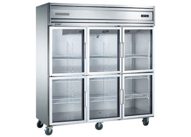 Imported Aspera Compressor Six Glass Door Commercial Kitchen Refrigerator with Four Mobile Castors